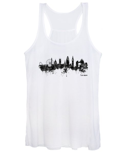 London Black And White Watercolor Skyline Silhouette Women's Tank Top