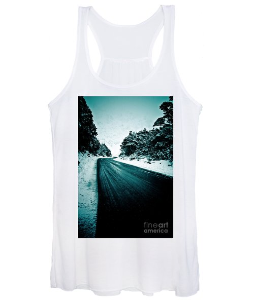 Lonely Road In The Countryside For A Car Trip And Disconnect From Stress Women's Tank Top