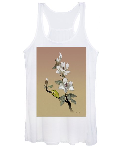 Magnolia And Tree Frog Women's Tank Top