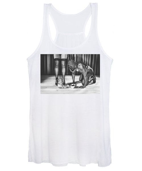 Man With Mask On His Knees Beside His Mistress Women's Tank Top