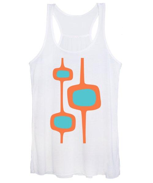 Mod Pod Three In Turquoise And Orange Women's Tank Top