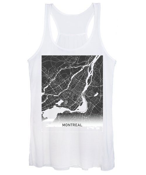 Montreal Map Black And White Women's Tank Top