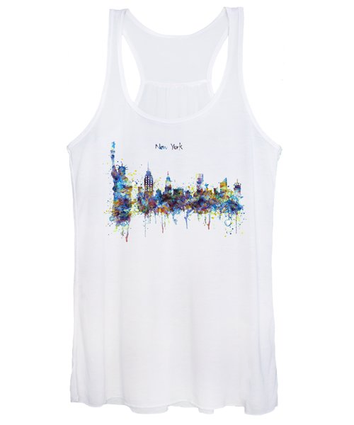 New York Watercolor Skyline Women's Tank Top