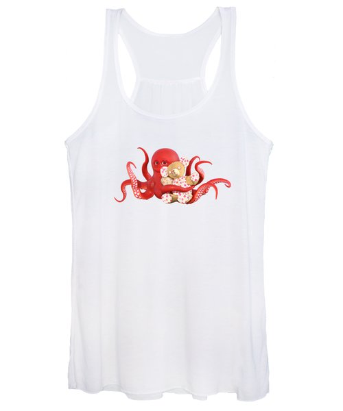 Octopus Red With Bear Women's Tank Top