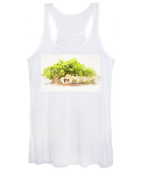 Old Leaning Tree At Sandy Hill  Anguilla Women's Tank Top