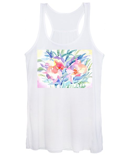 Women's Tank Top featuring the painting Pink Flowers by Irina Dobrotsvet