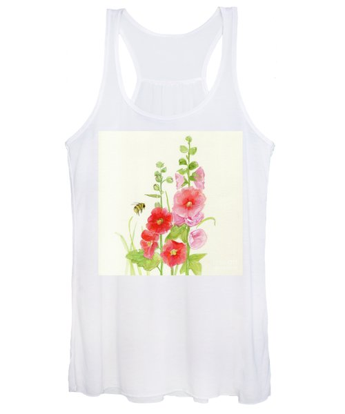 Pink Hollyhock Watercolor Women's Tank Top