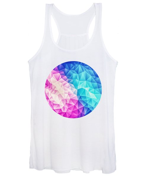 Pink Ice Blue  Abstract Polygon Crystal Cubism Low Poly Triangle Design Women's Tank Top