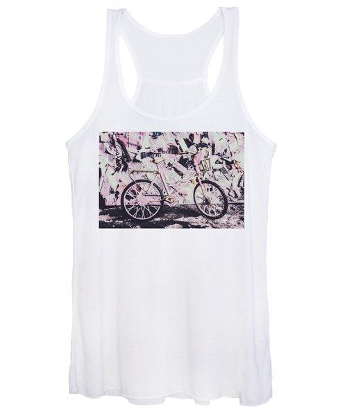 Pink Posterized Pushbike Women's Tank Top