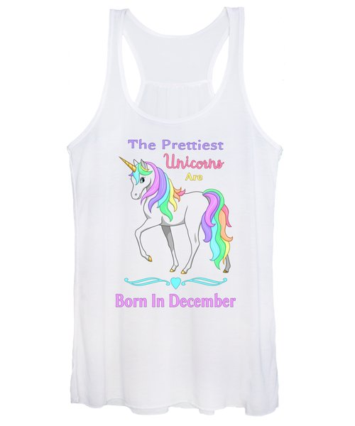 Pretty Rainbow Unicorn Born In December Birthday Women's Tank Top