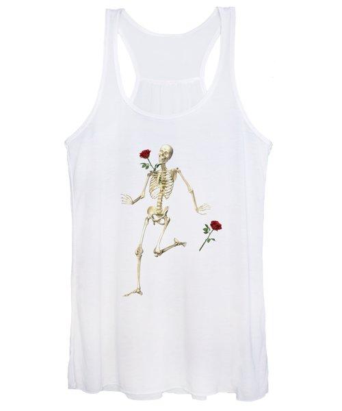 Rambling Rose Running Skeleton Women's Tank Top