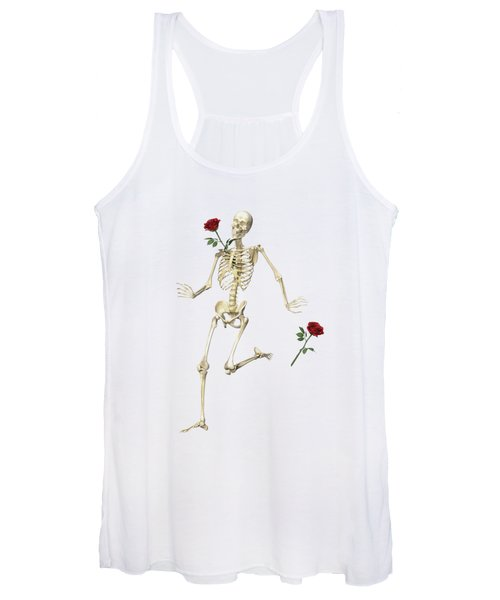 Rambling Rose Running Skeleton Women's Tank Top