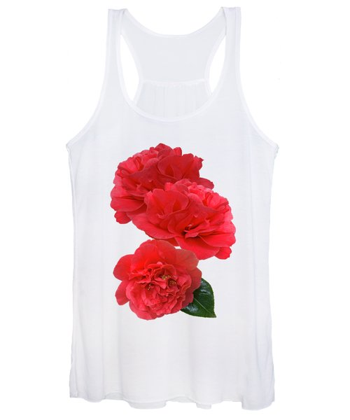 Red Camellias On White Vertical Women's Tank Top