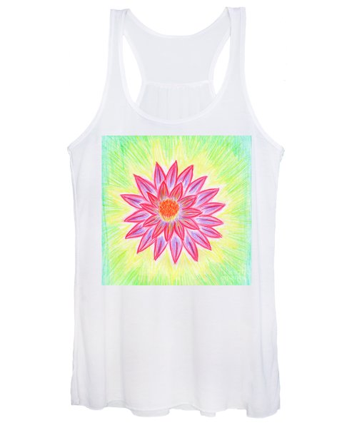 Women's Tank Top featuring the painting Red Lotus by Irina Dobrotsvet