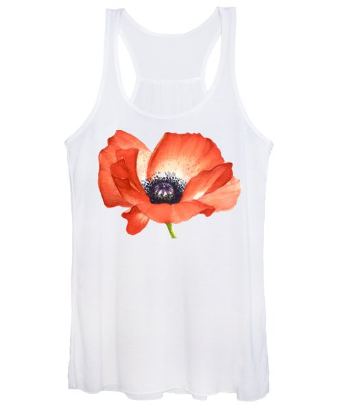 Red Poppy Flower, Image For Prints On Tshirt Women's Tank Top