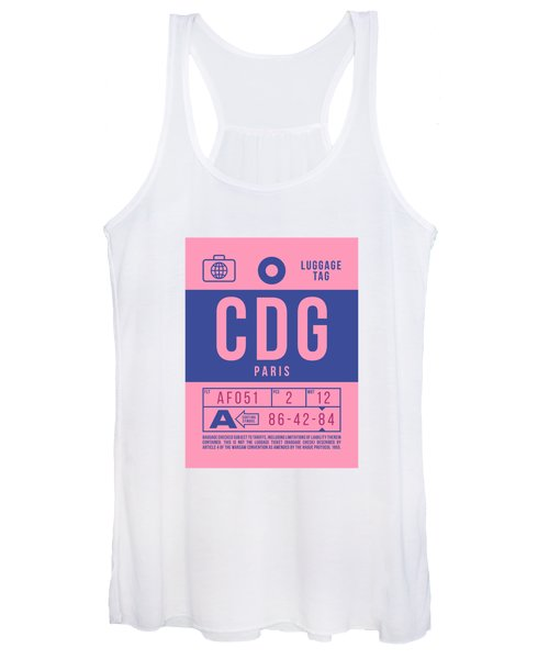 Retro Airline Luggage Tag 2.0 - Cdg Paris Charles De Gaulle France Women's Tank Top