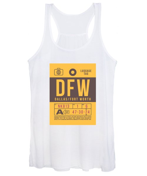 Retro Airline Luggage Tag 2.0 - Dfw Dallas Fort Worth United States Women's Tank Top