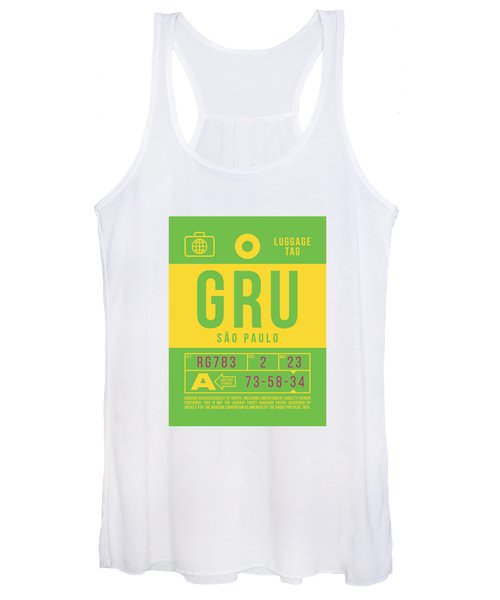 Retro Airline Luggage Tag 2.0 - Gru Sao Paulo Brazil Women's Tank Top
