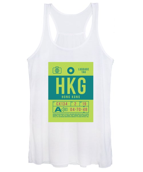 Retro Airline Luggage Tag 2.0 - Hkg Hong Kong Women's Tank Top