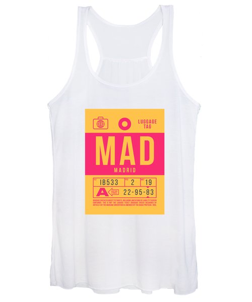 Retro Airline Luggage Tag 2.0 - Mad Madrid Barajas Airport Spain Women's Tank Top