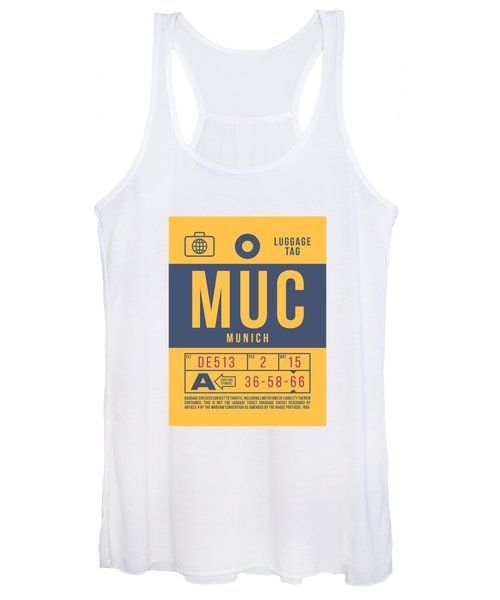 Retro Airline Luggage Tag 2.0 - Muc Munich International Airport Germany Women's Tank Top