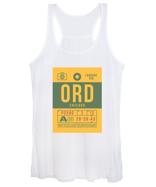 Retro Airline Luggage Tag 2.0 - Ord Chicago O'hare Airport United States Women's Tank Top
