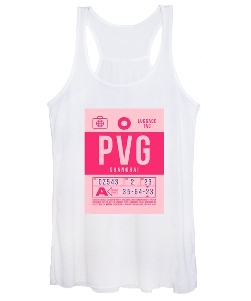 Retro Airline Luggage Tag 2.0 - Pvg Shanghai International Airport China Women's Tank Top