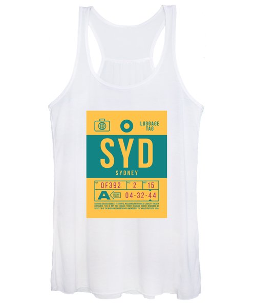 Retro Airline Luggage Tag 2.0 - Syd Sydney Kingsford Smith Airport Australia Women's Tank Top
