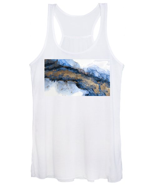 River Of Blue And Gold Abstract Painting Women's Tank Top