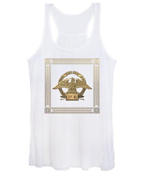 Roman Empire - Gold Roman Imperial Eagle Over White Velvet Women's Tank Top