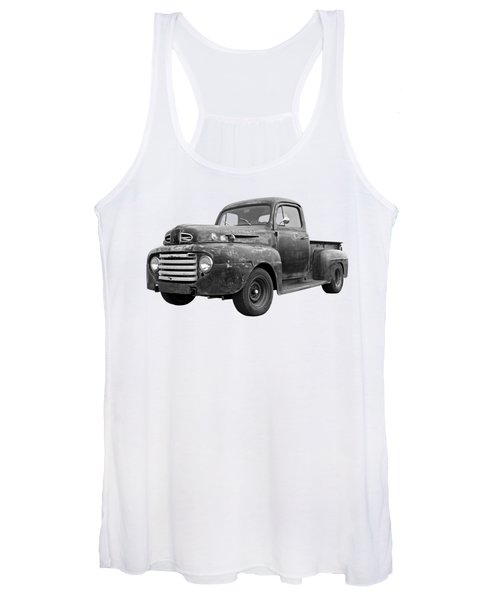 Rusty Ford Farm Truck Black And White Women's Tank Top
