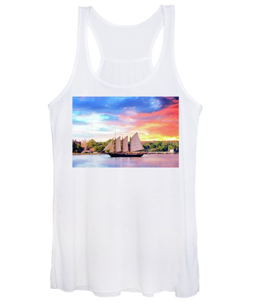 Sails In The Wind At Sunset On The York River Women's Tank Top