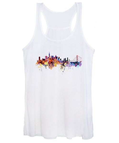 San Francisco Watercolor Skyline Women's Tank Top