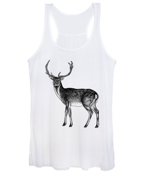 Sika Deer Stag - Ink Illustration Women's Tank Top