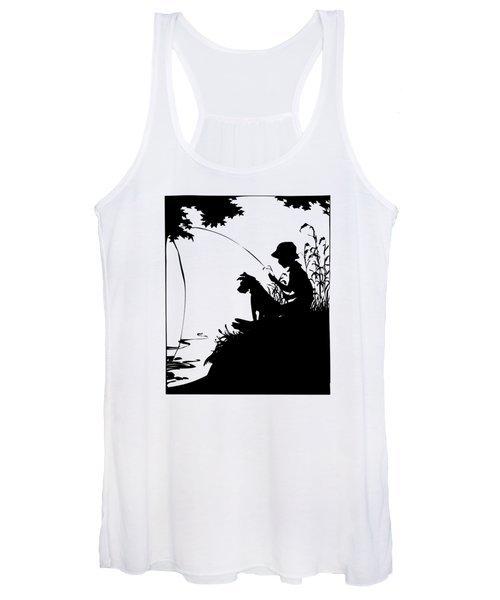 Silhouette Of A Boy Fishing With His Dog Women's Tank Top