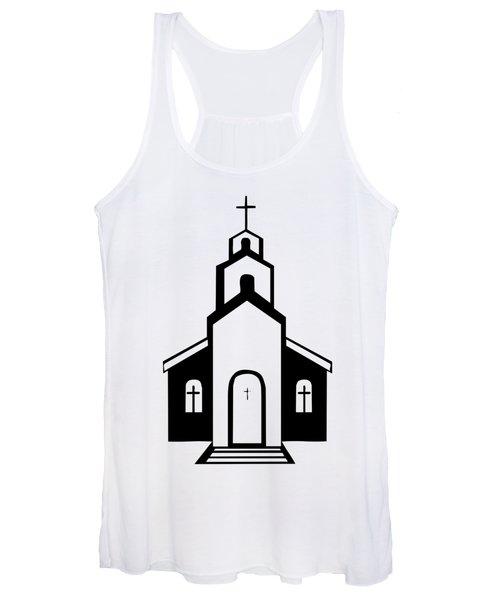 Silhouette Of A Christian Church Women's Tank Top