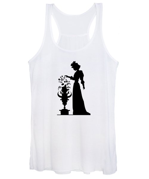Silhouette Of A Victorian Woman And Flowers Women's Tank Top