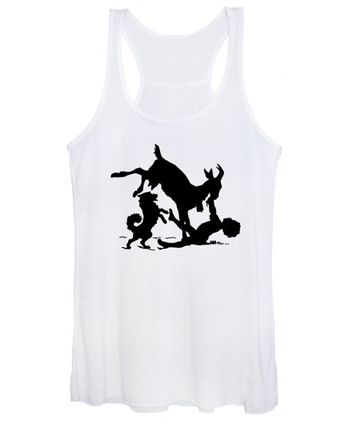 Silhouette With A Boy, Goat And A Dog By Paul Konewka Women's Tank Top
