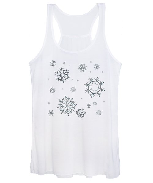 Snowflakes On Blue Women's Tank Top