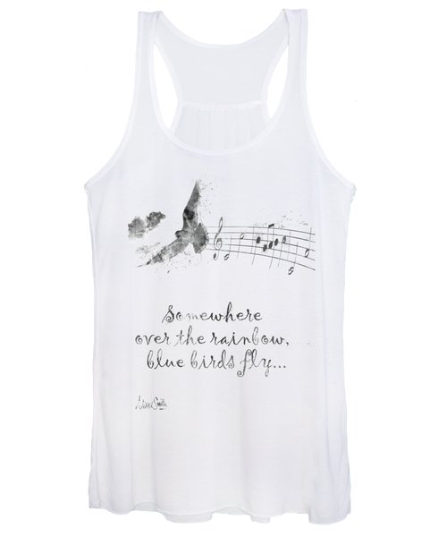 Somewhere Over The Rainbow In Black And White Women's Tank Top