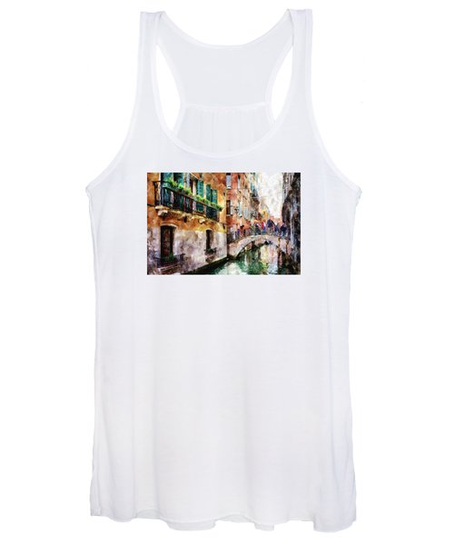 People On Bridge Over Canal In Venice, Italy - Watercolor Painting Effect Women's Tank Top