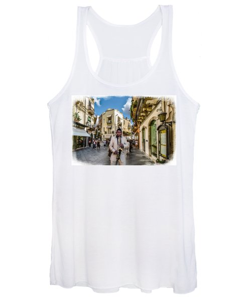 Street Music. Saxophone. Women's Tank Top