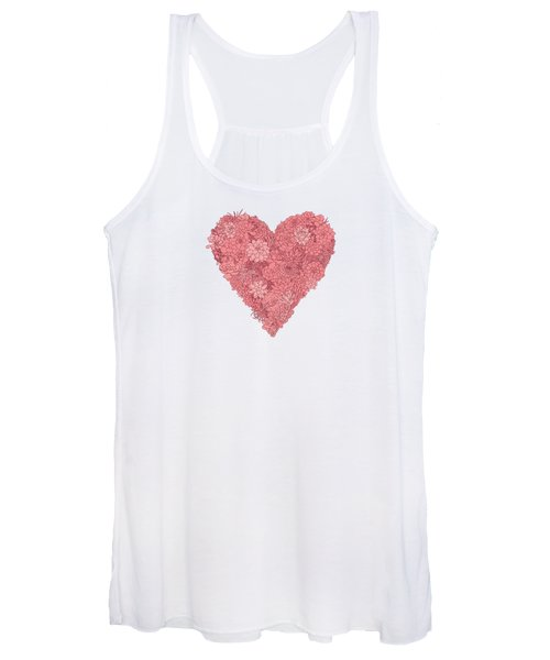 Pink Succulent Heart White Background Women's Tank Top