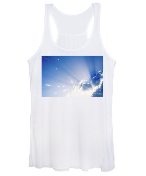 Sunbeams Rising From A Large Cloud In Intense Blue Sky On A Summer Afternoon Women's Tank Top