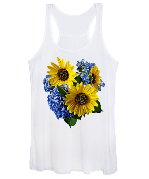 Sunflowers And Hydrangeas Women's Tank Top