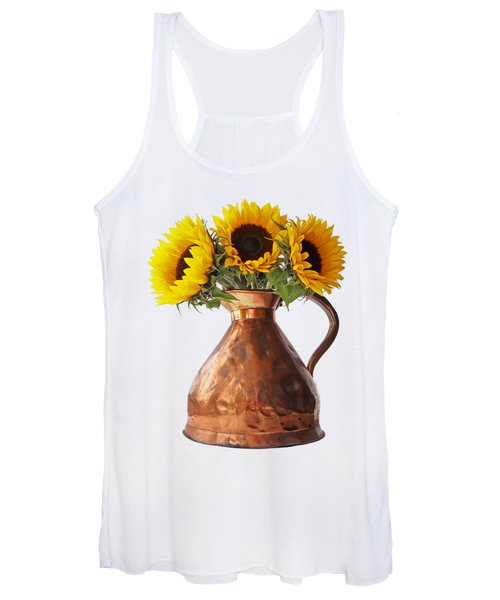 Sunflowers In Copper Pitcher On White Women's Tank Top