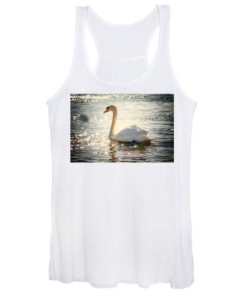 Swan On Golden Waters Women's Tank Top