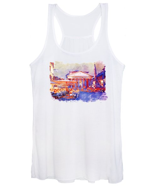 The Pantheon Rome Watercolor Streetscape Women's Tank Top