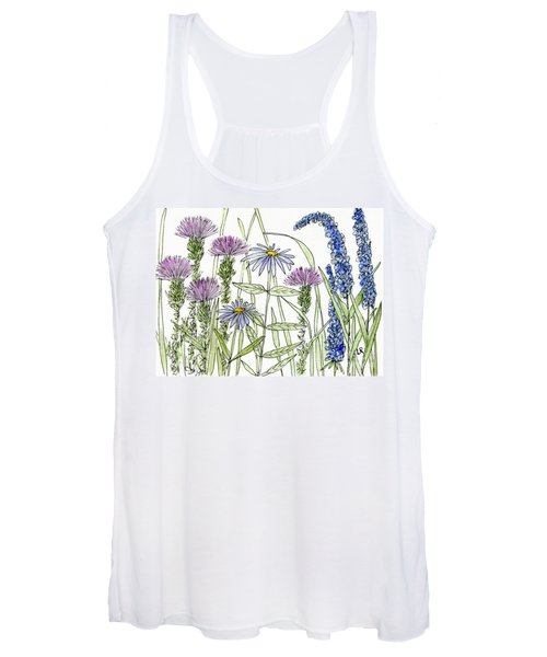 Thistle Asters Blue Flower Watercolor Wildflower Women's Tank Top