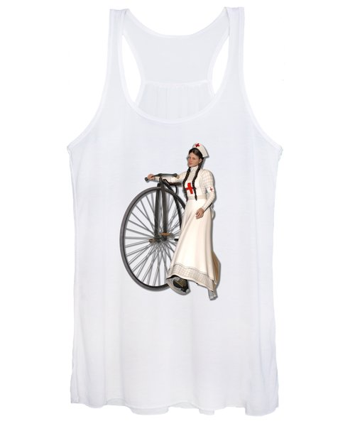 Victorian Nurse Along Penny Farthing Bicycle Women's Tank Top